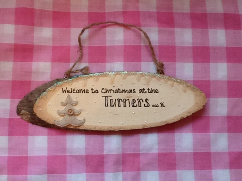 personalised christmas sign family surname welcome
