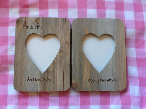 Personalised double photo frame driftwood style