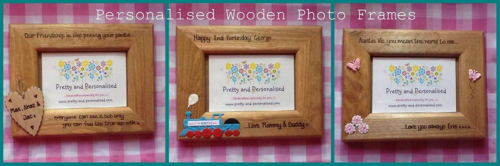 Wooden personalised photo frames