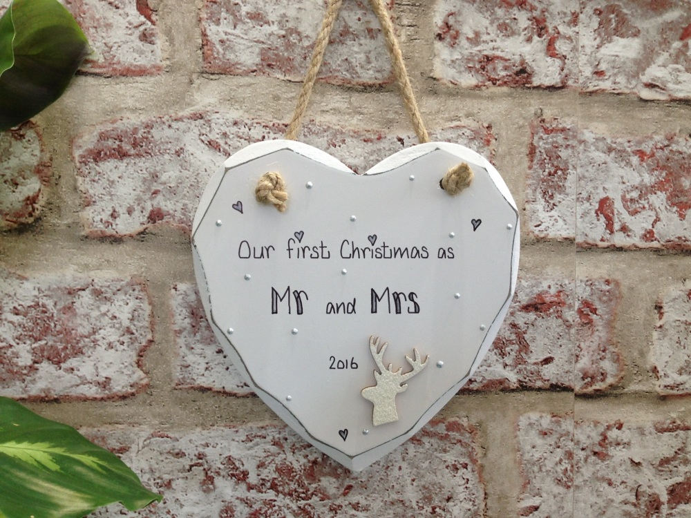 Personalised shabby chic white heart plaque sign 'Our first Christmas as Mr