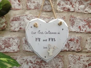 Christmas Mr mrs white heart plaque personalised