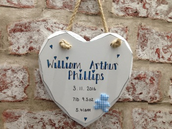 New baby personalised white heart plaque