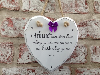 Friend personalised white wooden heart