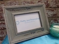 Personalised photo frame distressed vintage shabby chic with lovely quote for mum and son love