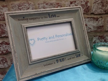 Mum and son shabby chic photo frame