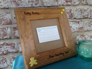 Baby Scan  'Due. . .' - Personalised Solid Wood Photo Frame