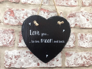'Love You. . . To The Moon And Back' - Personalised Slate Heart Plaque