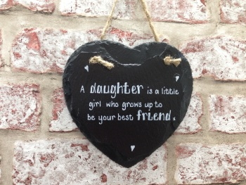 Daughter Best Friend - Personalised Slate Heart Plaque