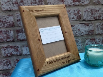 Personalised wooden photo frame for Valentine's day