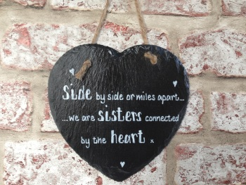 Personalised slate heart sign/plaque for sister
