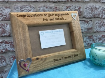 Personalised wooden photo frame for engagement / wedding