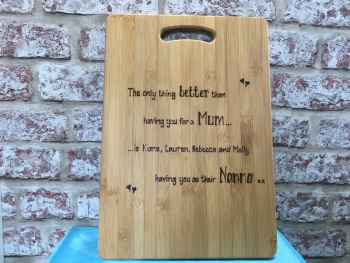 Mum Nan personalised wooden chopping board