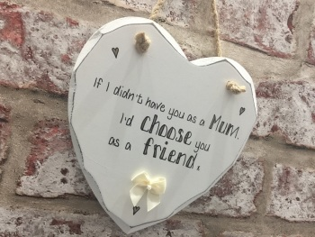 Mum friend personalised white heart plaque