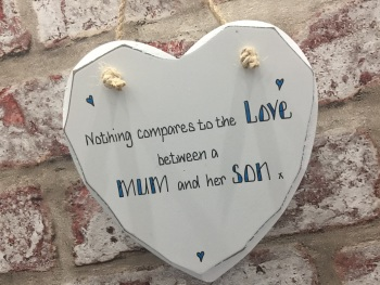 Personalised shabby chic white heart plaque mum son