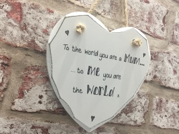 Mum is my world personalised white heart plaque