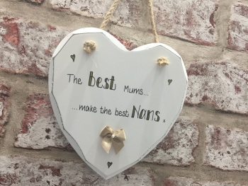 Mum nan personalised white heart plaque