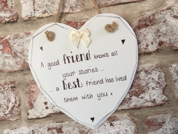 Best friend stories personalised white heart plaque