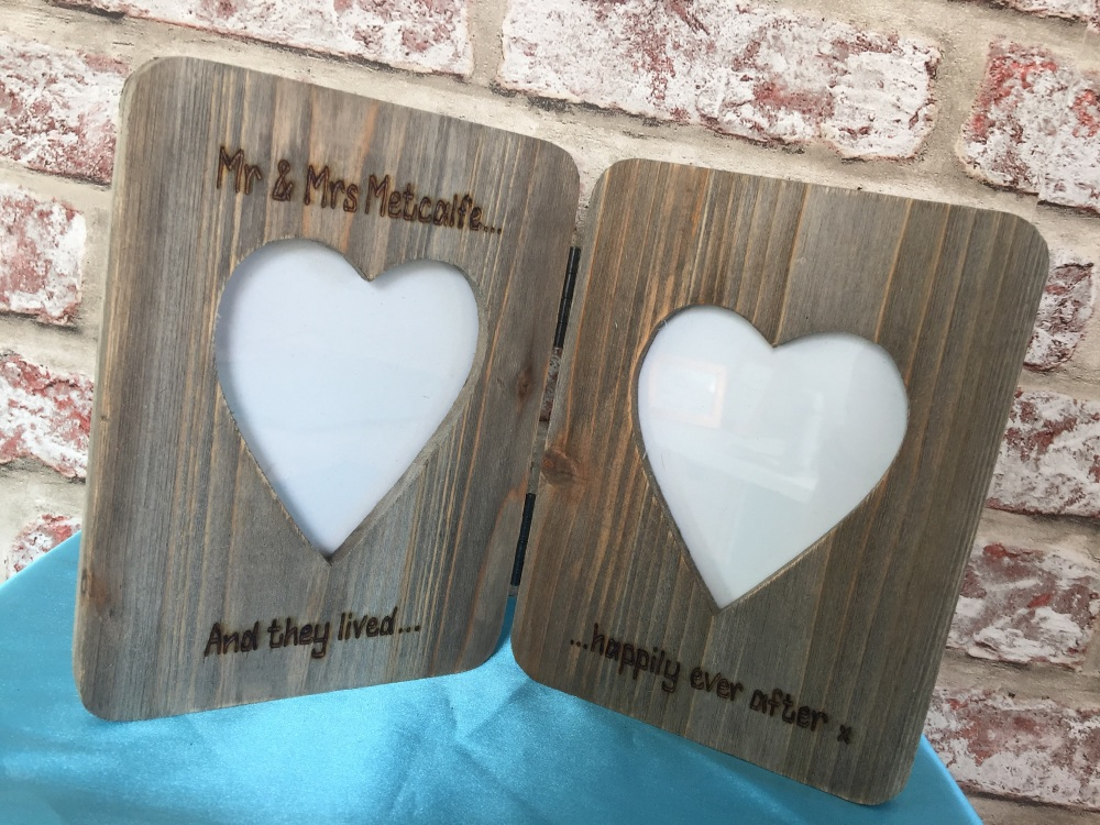 Personalised double driftwood photo frame with any message engraved