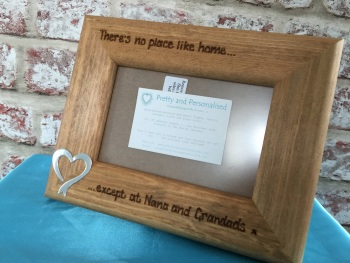 Personalised wooden photo frame with gold / silver heart