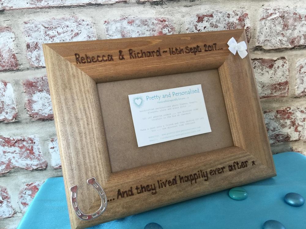 Personalised engraved wedding photo frame rustic wood