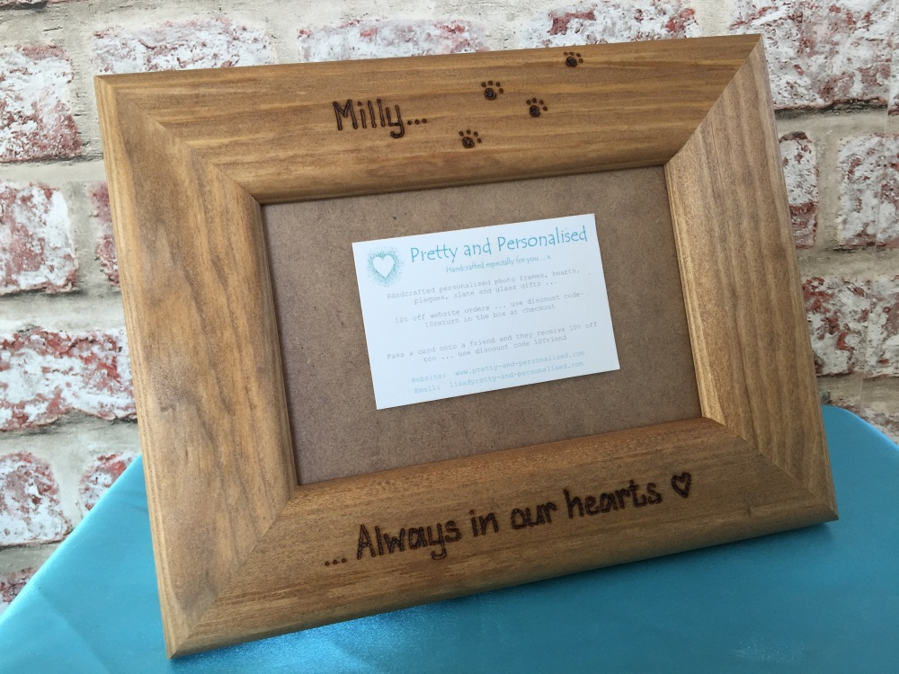 Personalised wooden photo picture frame 6x4\