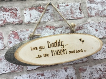 'Love you to the moon and back' personalised wooden plaque sign