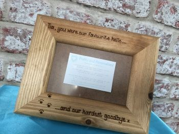 Personalised dog photo frame favourite hello