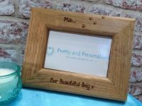 Beautiful boy personalised wooden photo frame for dog