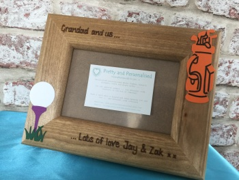 Golf personalised wooden Dad photo frame