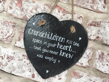 'Grandchildren fill the space in your heart. . .' Personalised Slate Heart Plaque