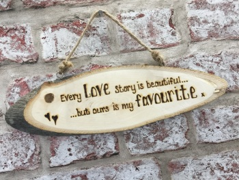 Personalised wooden plaque beautiful love story