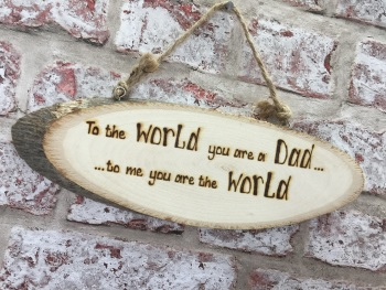 Personalised engraved wooden plaque dad world