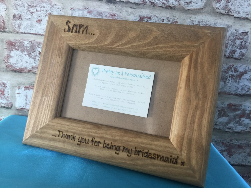 Personalised photo frame Bridesmaid / Maid of Honour / Flower Girl ...