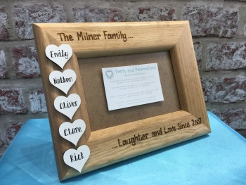 Personalised wooden photo frame family names