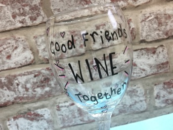 Personalised wine glass 'Good friends wine together'