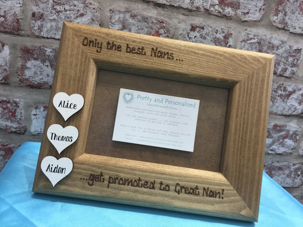 Personalised photo frame white wooden hearts engraved