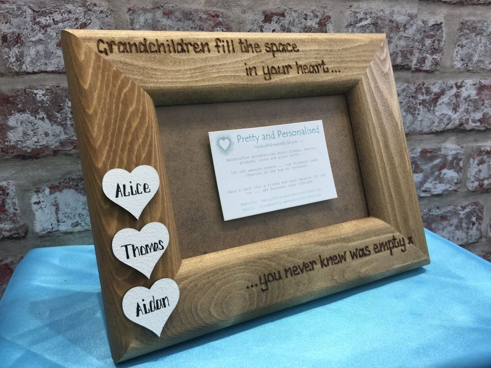 Grandchildren personalised wooden photo frame for Nan Grandad