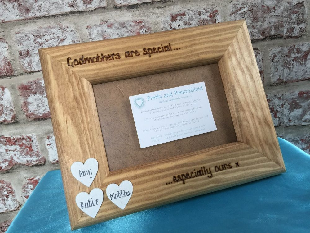 Godmother Godfather Auntie Uncle Personalised Photo Frame with white Hearts Wooden