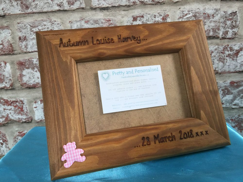 Personalised new baby wooden photo frame