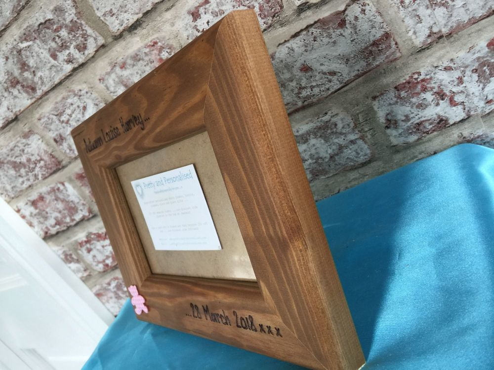 Side view of personalised photo frame