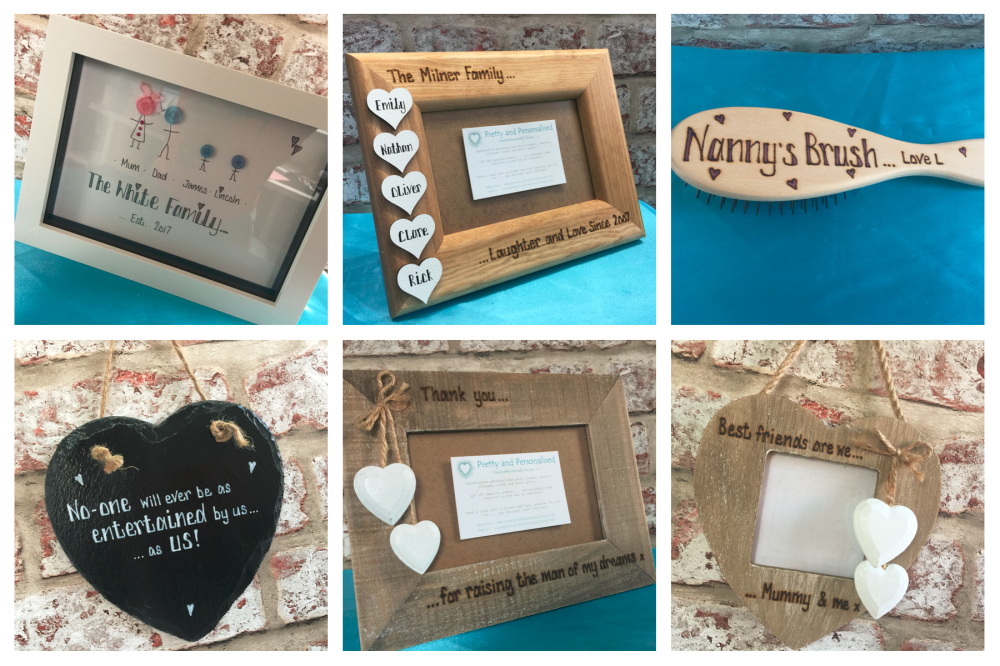 Personalised Gifts, personalised photo frame, hair brush, button head family frame, slate heart