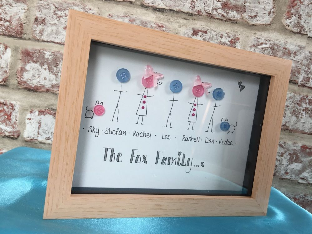 Button head wood finish family frame