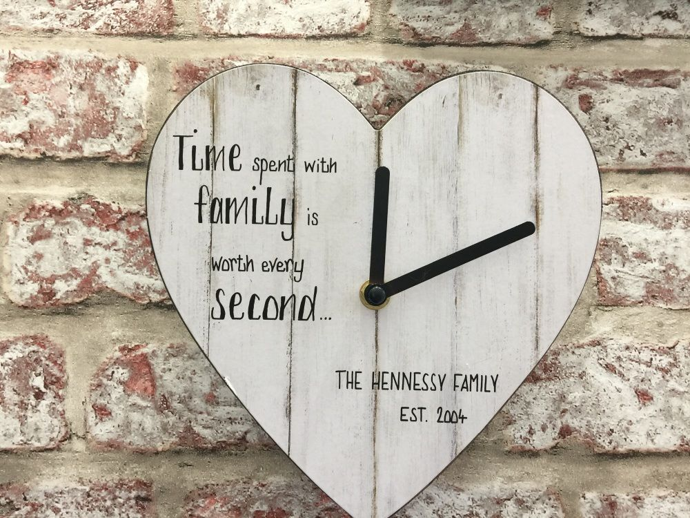 Family personalised white heart shaped clock