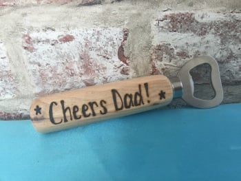 Personalised wooden beer bottle opener