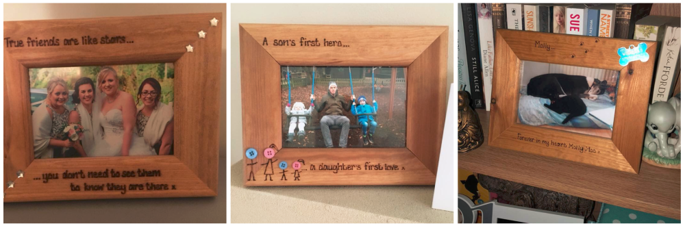 Customer photos of personalised photo frames