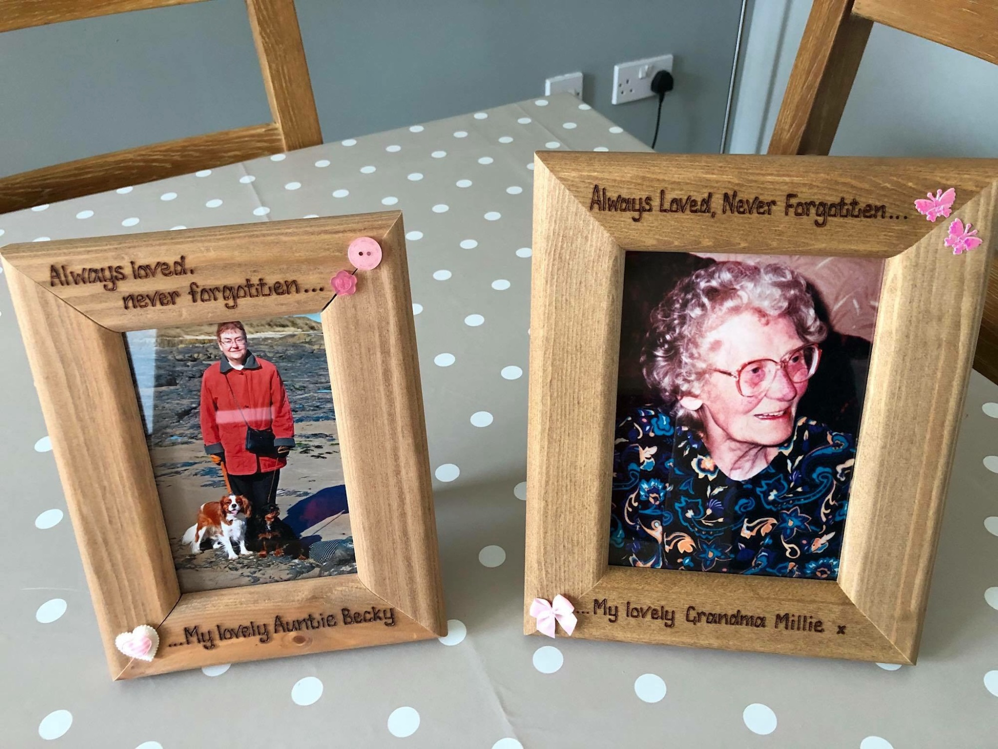 Two personalised photo frames customer photos