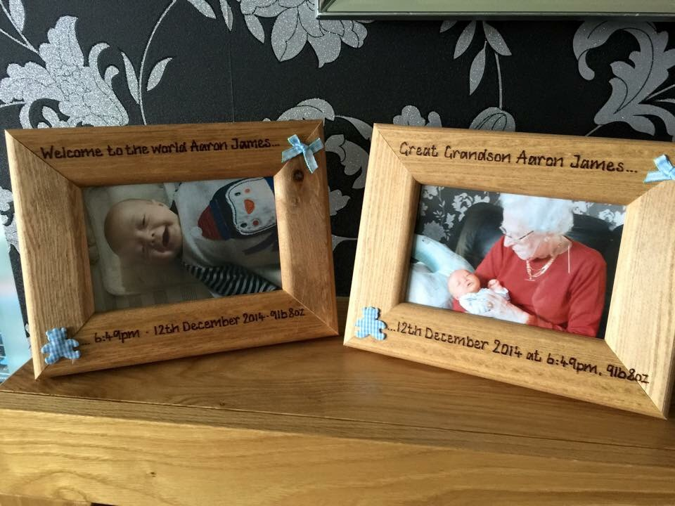 New baby boy personalised photo frames