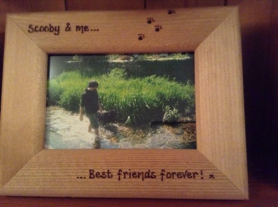 dog personalised wooden photo frame