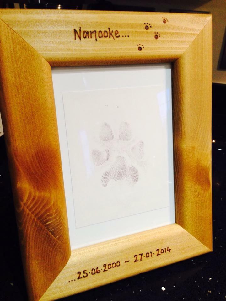 Personalised dog paw print photo frame