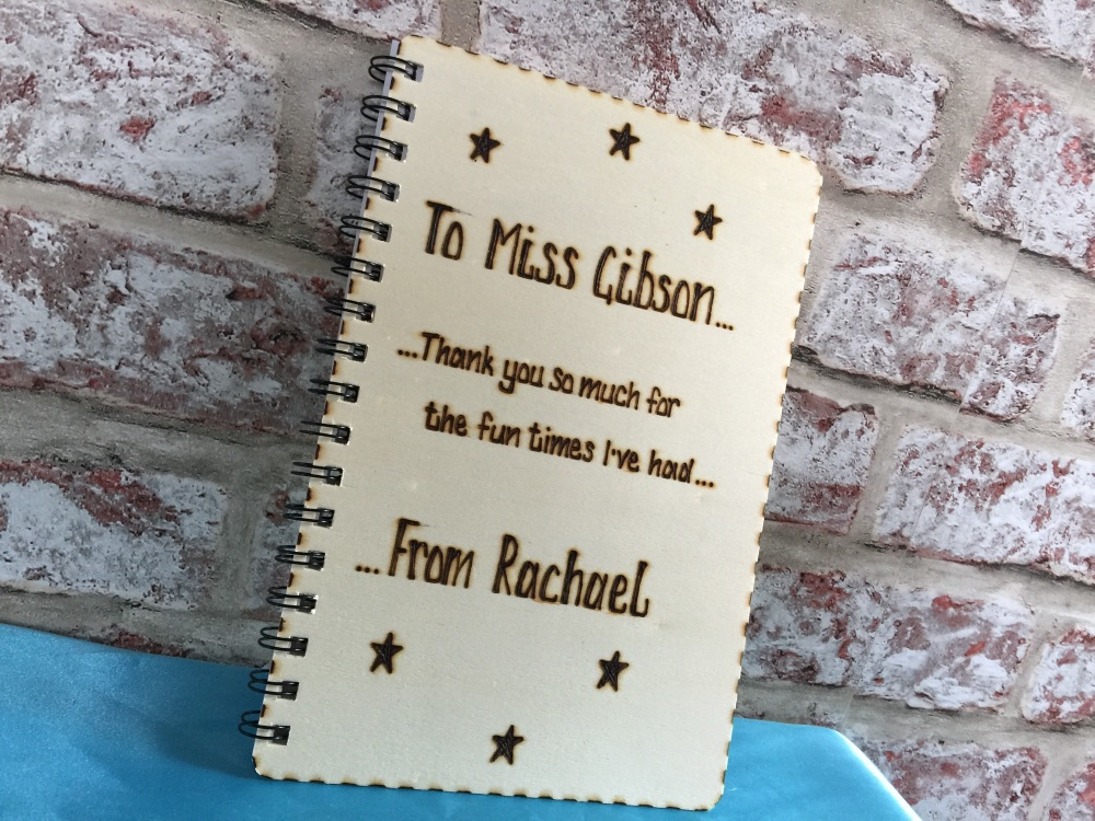 Design your own personalised wooden notebook